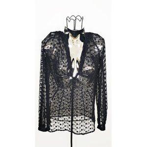 Bohemian black see through floral tunic top S/M